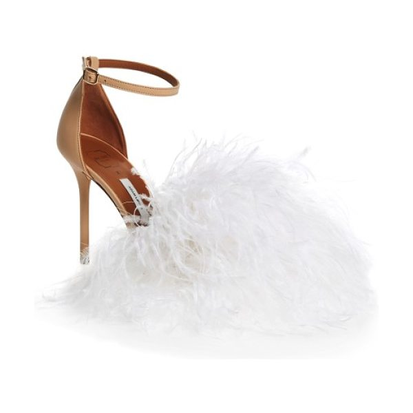 MALONE SOULIERS nicoletta feather sandal in nude leather - Modern design meets vintage glamour on an ankle-strap...