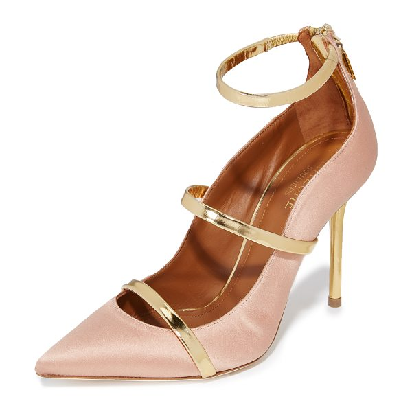 MALONE SOULIERS robyn pumps in blush/gold - Slim, mirrored straps add eye-catching style to these...