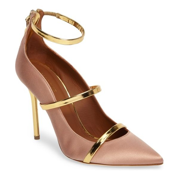 MALONE SOULIERS robyn triple strap pump in blush/ gold - A lithe pointy-toe pump featuring a trio of mirrored...