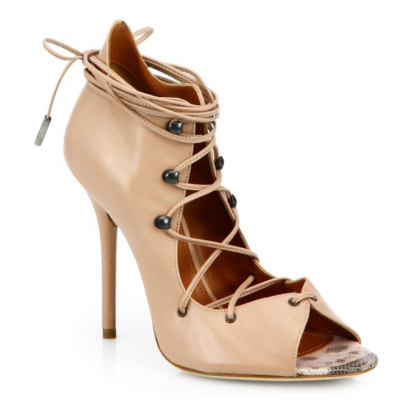 MALONE SOULIERS Savannah leather & snakeskin lace-up ankle sandals in nudepink