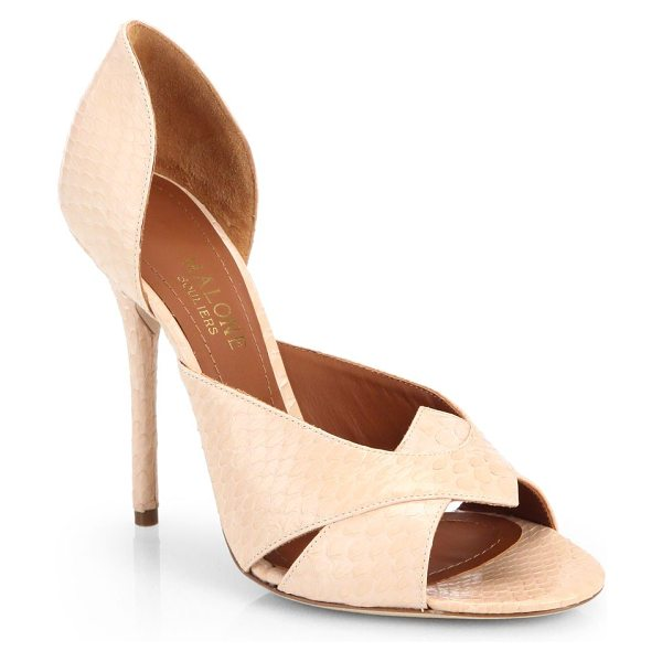 MALONE SOULIERS Snakeskin open-toe d'orsay pumps in blush - Crafted in Italian snakeskin, these open-toe pumps add...