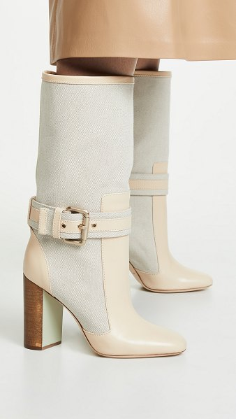 MALONE SOULIERS x roksanda berenice boots in beige/ mint - Fabric: Canvas Leather trim Buckle accent Wood heel...