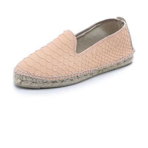 MANEBI Amazonia esapdrilles in pastel rose - Manebi espadrilles cut from embossed leather give a...