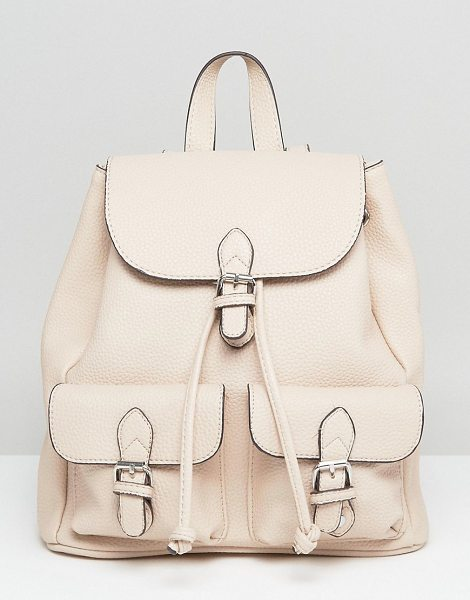 MANGO Backpack in cream - Backpack by Mango, Faux-leather outer, Woven lining,...