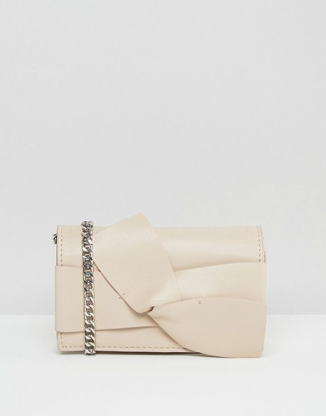MANGO Bow Cross Body Bag in cream - Cart by Mango, Faux leather outer, Chain body strap,...