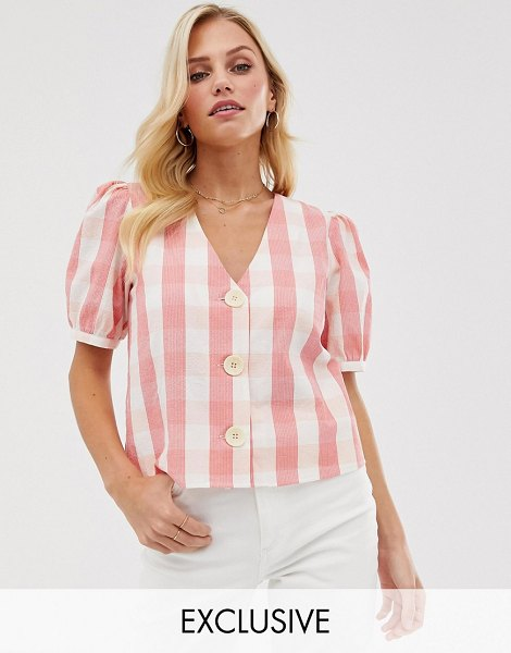 MANGO button front blouse in gingham print in pink