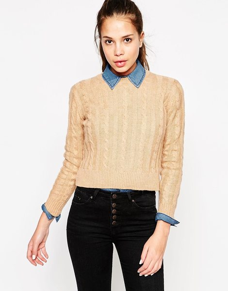 MANGO Cable knit sweater - Sweater by Mango Soft, mid-weight cable knit Crew...