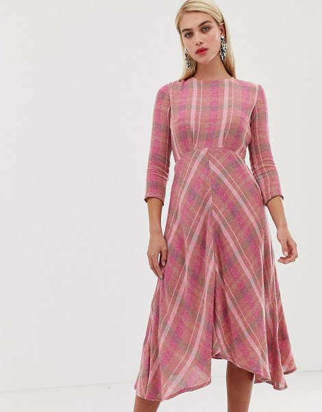 MANGO check midi dress in pink in pink