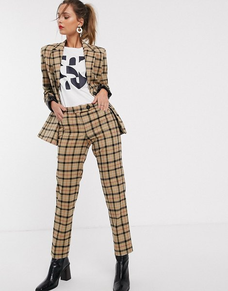 MANGO check pants two-piece in brown in brown