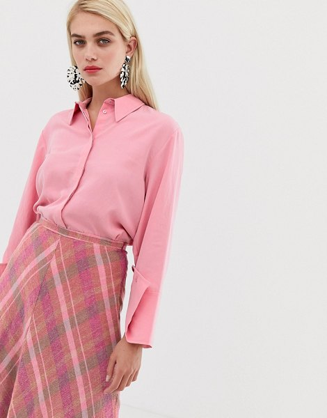 MANGO concealed button shirt in pink in pink
