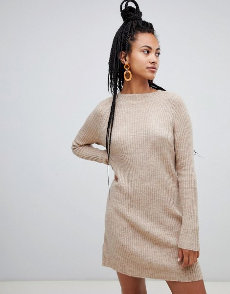 MANGO sweater dress ribbed in camel