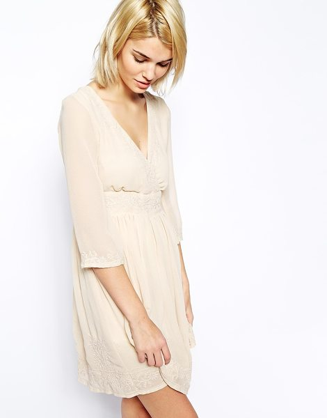 MANGO Long sleeve embroidered dress in cream