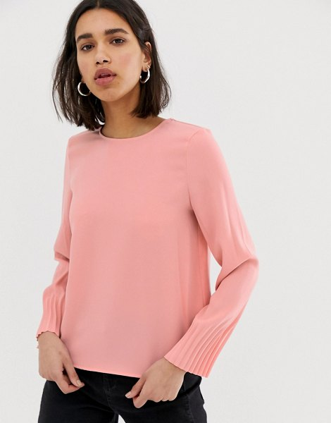 MANGO long sleeved blouse with pleated cuff in pink in pink