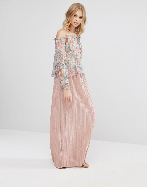 MANGO Pleated Maxi Skirt in pink