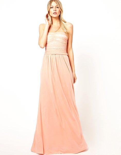 MANGO Rouched lace maxi dress in sorbete
