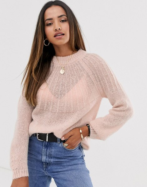MANGO soft touch sweater in pink in pink