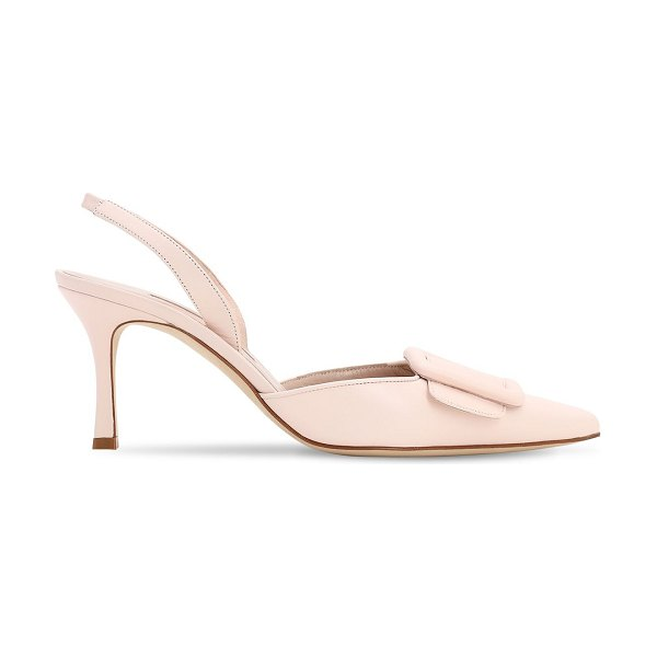 Manolo Blahnik 70mm maysli nappa sling back pumps in light pink