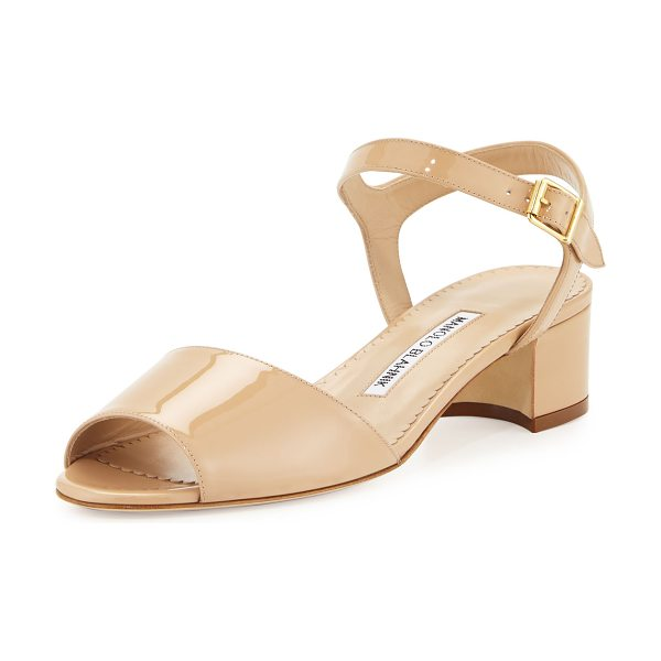 "Manolo Blahnik Affian Patent Chunky-Heel Sandal in nude/natural - Manolo Blahnik patent leather sandal. 1.8"" covered block..."
