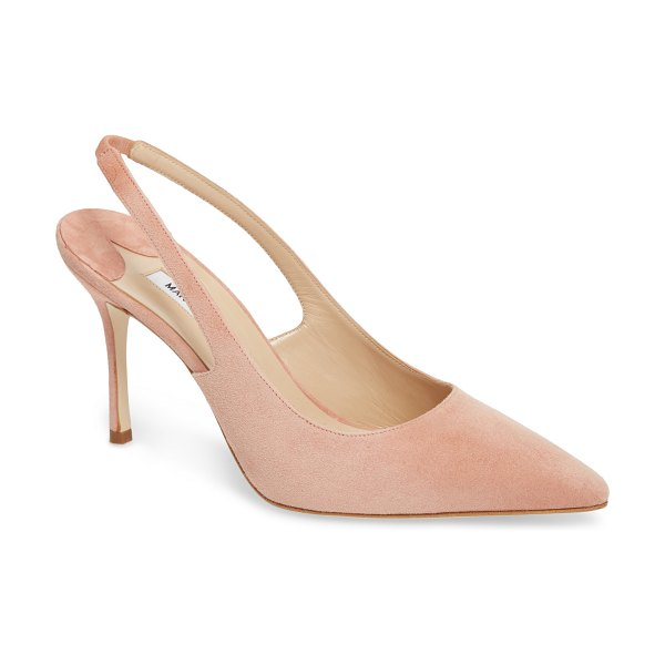Manolo Blahnik allura slingback pointy toe pump in pink - Designed to be a forever-chic look, this elegant suede...