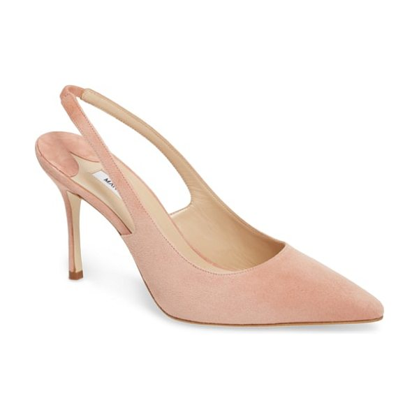 Manolo Blahnik allura slingback pointy toe pump in blush suede - Designed to be a forever-chic look, this elegant suede...