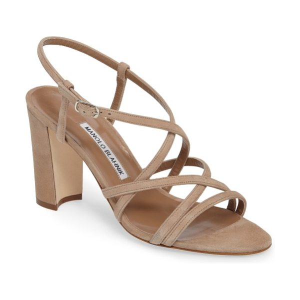 Manolo Blahnik atrita sandal in beige suede - Timeless elegance with a hint of playful verve make this...