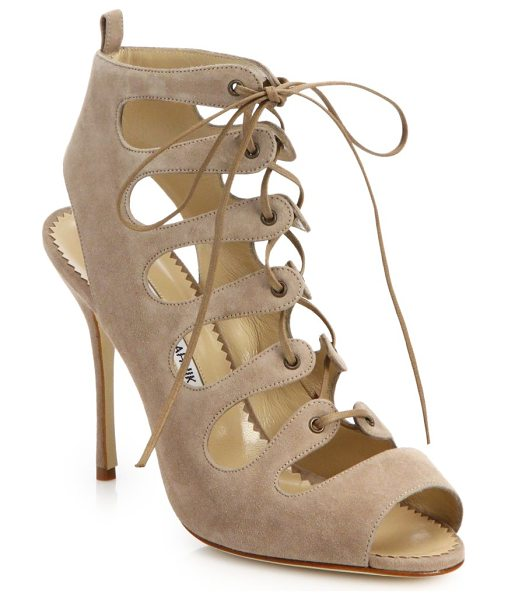 Manolo Blahnik Attal suede lace-up sandals in tan