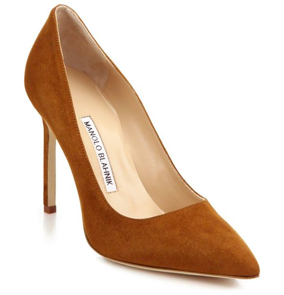 Manolo Blahnik bb 105 suede point toe pumps in cognac - These sophisticated pumps of rich suede with a...