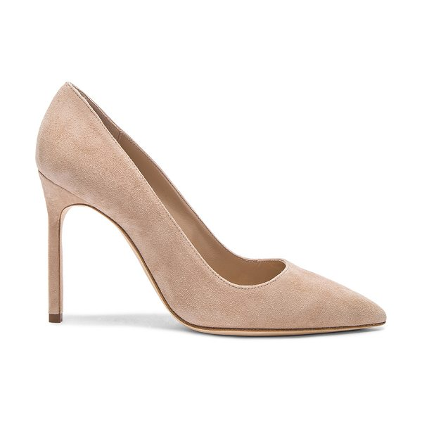 Manolo Blahnik BB 105 Suede Pumps in nude - Suede upper with leather sole.  Made in Italy.  Approx...