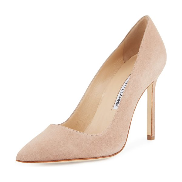 "Manolo Blahnik BB 105mm Suede Pump (Pux Heel) in beige - Suede with pointed toe and topstitched collar. 4"" heel;..."