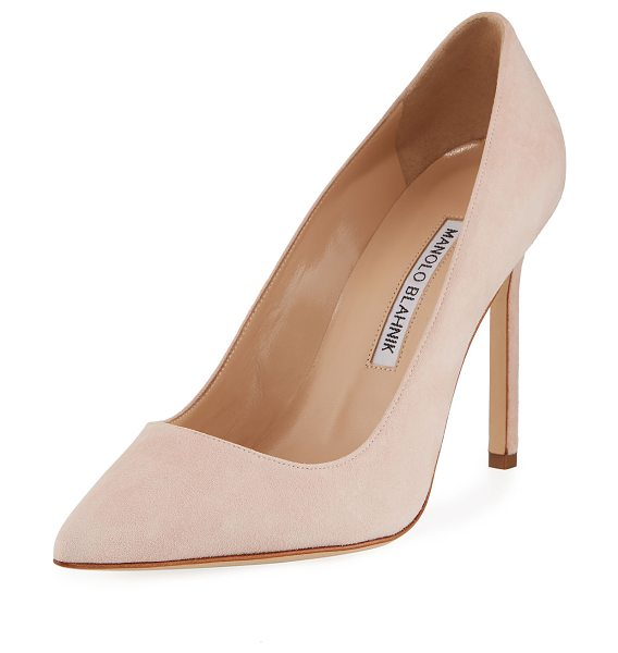 """Manolo Blahnik BB 105mm Suede Pump in medium pink - Suede with pointed toe and topstitched collar. 4"""" heel;..."""