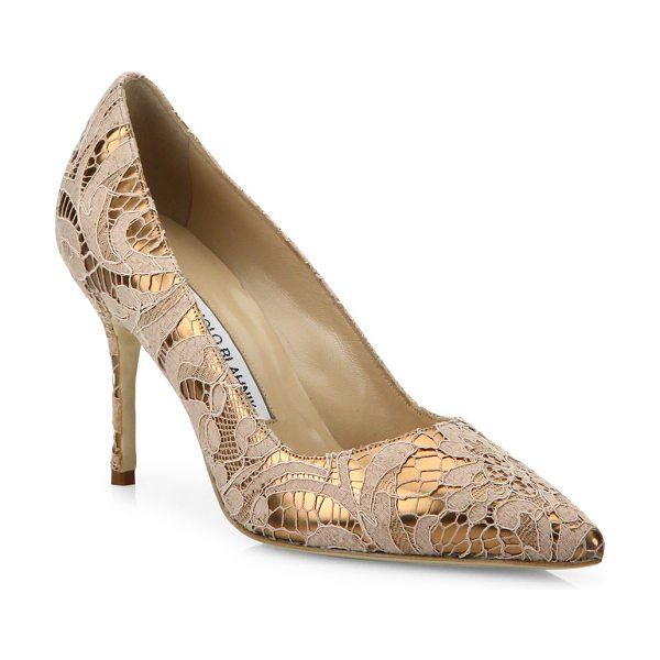 Manolo Blahnik bb 90 lame lace pumps in pourdre nude - EXCLUSIVELY AT SAKS FIFTH AVENUE. Metallic point-toe...