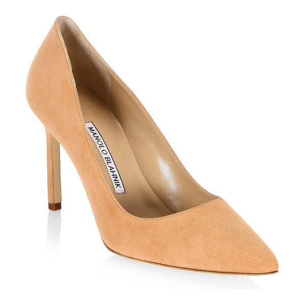 Manolo Blahnik bb 90 suede point toe pumps in classiccamel - EXCLUSIVELY AT SAKS FIFTH AVENUE. A timeless silhouette...