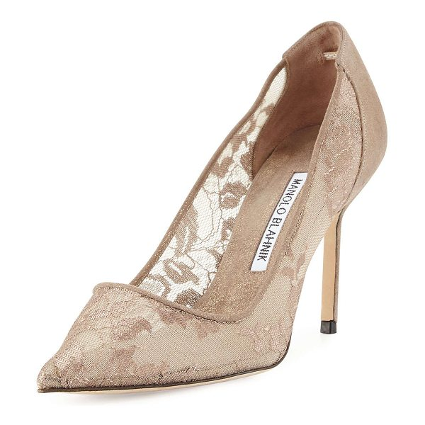 "MANOLO BLAHNIK BB Lace 90mm Pump - Manolo Blahnik pump with lace upper. 3.5"" covered heel...."