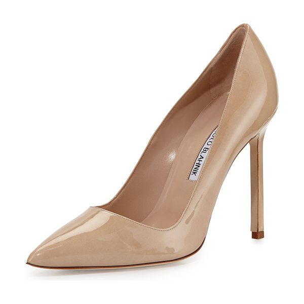 Manolo Blahnik BB Patent 105mm Pointed-Toe Pump in medium beige - Manolo Blahnik patent leather pump with tonal...