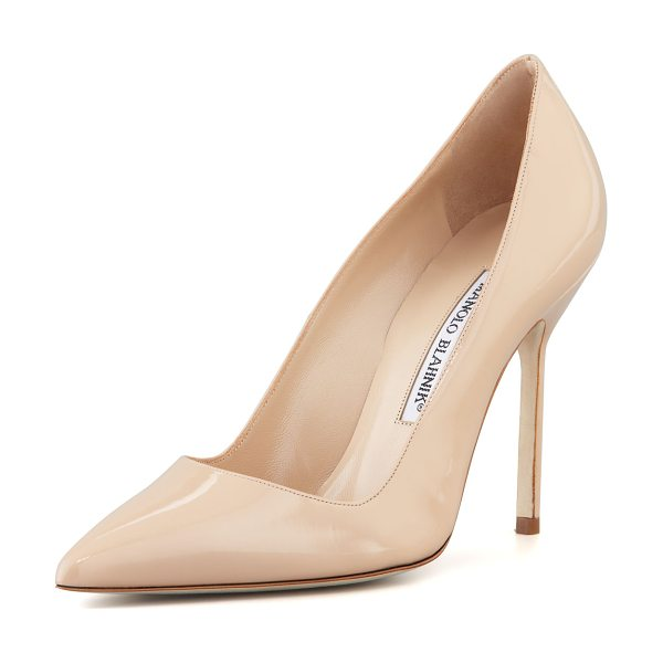 "Manolo Blahnik BB Patent 105mm Pump in nude - Manolo Blahnik patent leather pump. 4.3"" covered heel...."