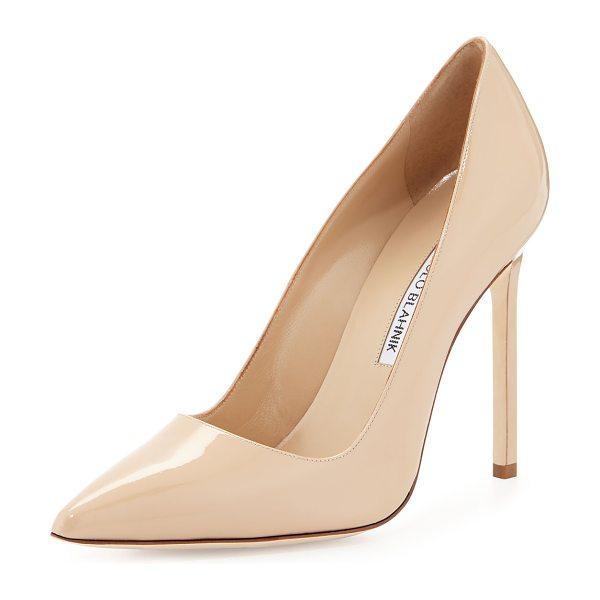 Manolo Blahnik BB Patent 115mm Pump in nude - Shiny, sleek patent leather with pointed toe and...