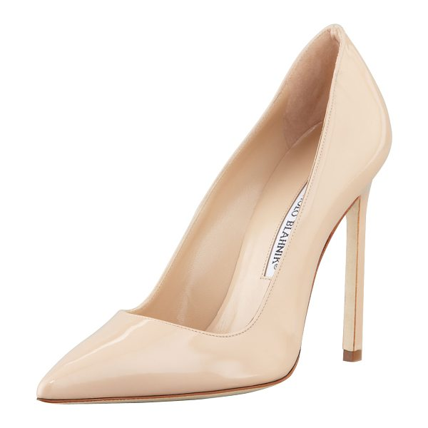 "Manolo Blahnik BB Patent 115mm Pump in nude - Manolo Blahnik patent leather pump. 4.5"" covered heel...."