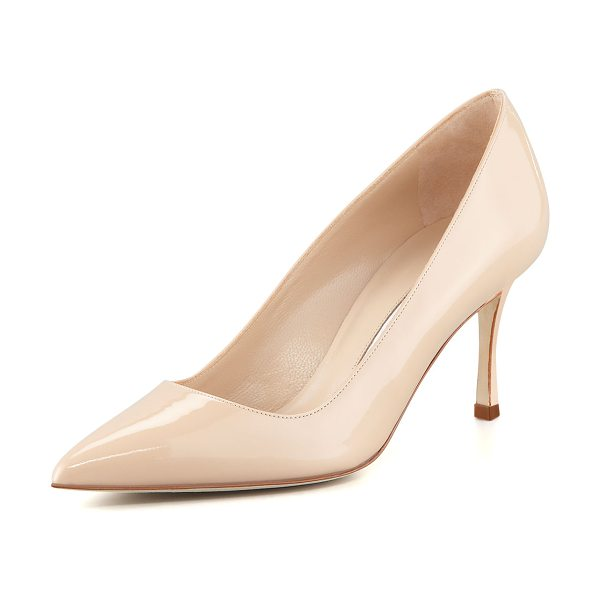 "Manolo Blahnik BB 70mm Patent Leather Pump in nude - Manolo Blahnik patent leather pump. 2.8"" covered heel...."