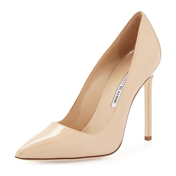 "Manolo Blahnik BB Patent Leather 115mm Pump in nude - Manolo Blahnik patent leather ""BB"" pump. 4.5"" covered..."