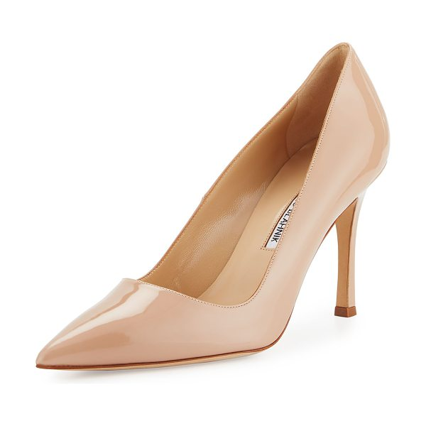 "Manolo Blahnik BB Patent Leather 90mm Pump in flesh - Manolo Blahnik ""BB"" patent leather pump. 3.5"" covered..."