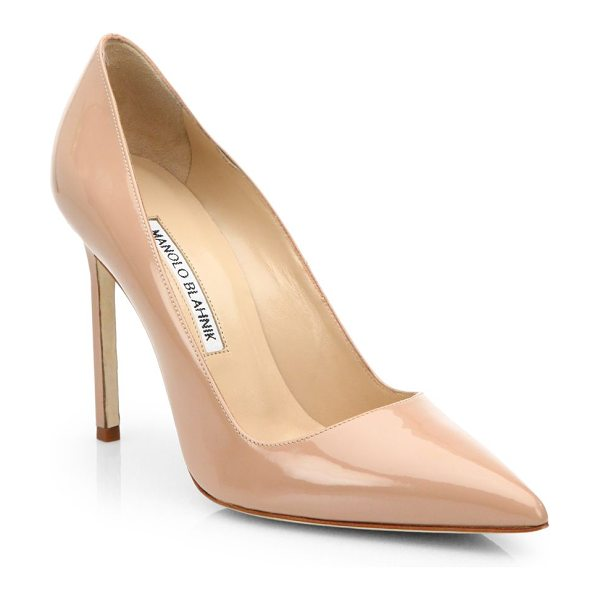Manolo Blahnik bb 105 patent leather point toe pumps in nude - Shiny patent leather in a versatile point toe...