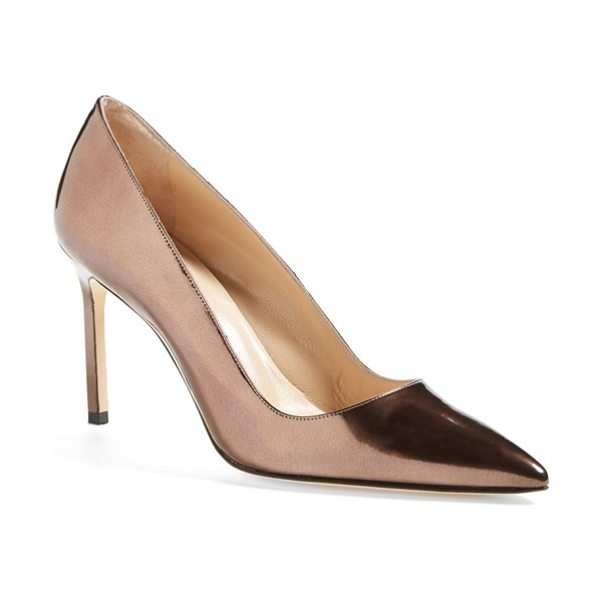 Manolo Blahnik bb patent leather pointy toe pump in bronze - The iconic BB pump is done up in bronze metallic leather...