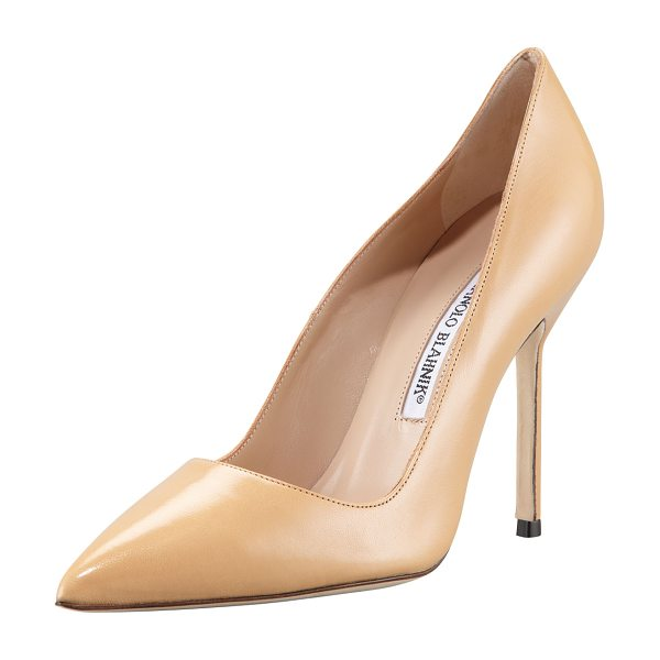 "Manolo Blahnik Bb pointed-toe pump in camel - Kid leather. Pointed toe; low-cut vamp. 4 1/4"" covered..."
