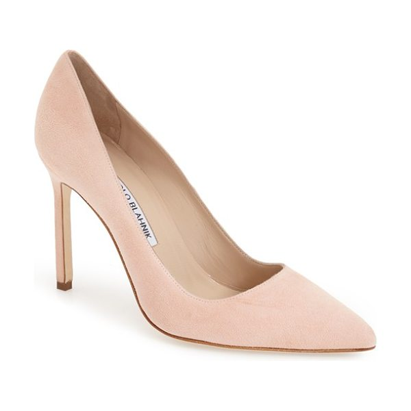 Manolo Blahnik bb pointy toe pump in blush suede - Simply gorgeous: A classic pointy-toe pump available in...