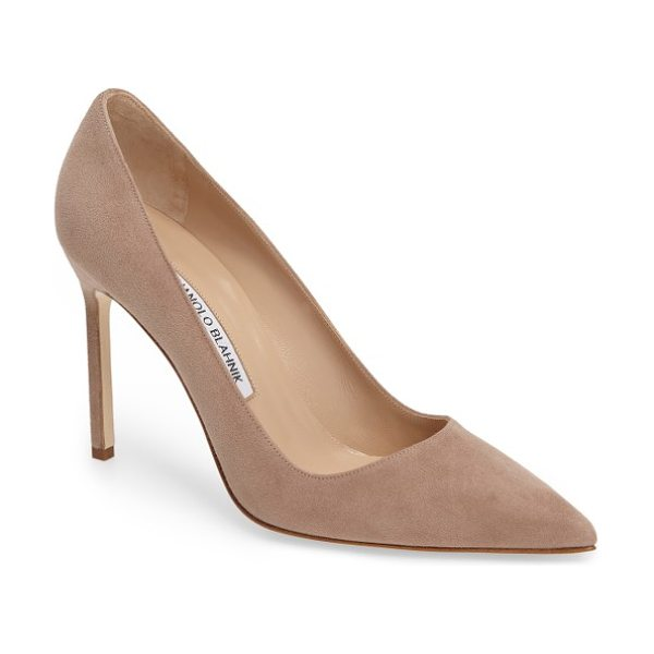 Manolo Blahnik 'bb' pointy toe pump in taupe suede - Simply gorgeous: A classic pointy-toe pump available in...