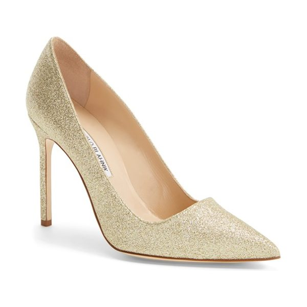 Manolo Blahnik bb pointy toe pump in gold multi fabric - The iconic pointy-toe pump is refreshed in a smart range...