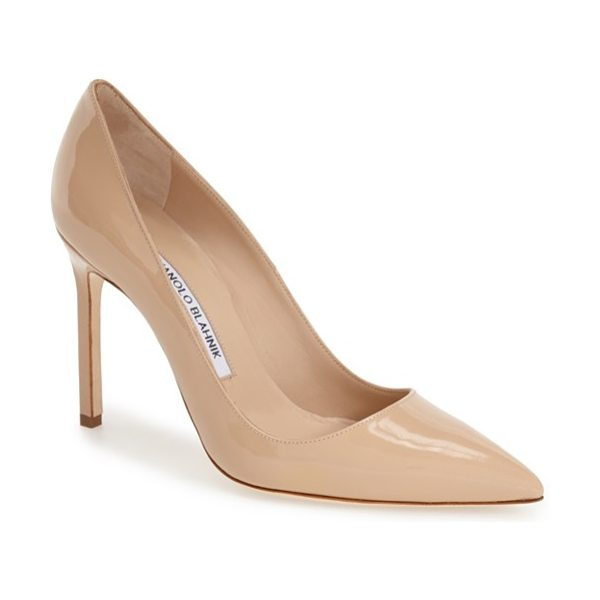 Manolo Blahnik bb pointy toe pump in nude patent - Simply gorgeous: A classic pointy-toe pump available in...