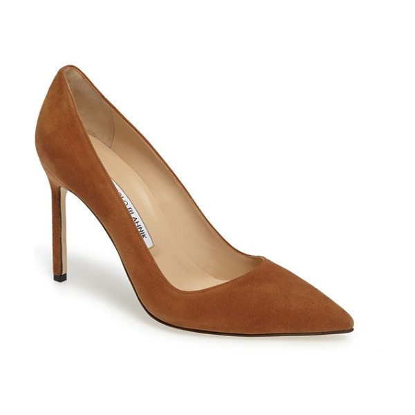 Manolo Blahnik 'bb' pointy toe pump in beige - Simply gorgeous: A classic pointy-toe pump available in...