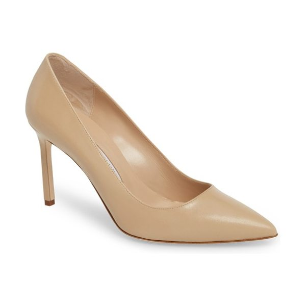 Manolo Blahnik bb pump in beige - Lustrous, buttery-soft leather composes a low-cut pump...