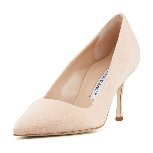 "Manolo Blahnik BB Suede 70mm Pump in beige - Manolo Blahnik suede pump. 2.8"" covered heel. Pointed..."